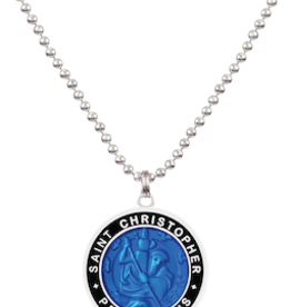 GET BACK SUPPLY CO. St. Christopher Large Necklace Royal Blue/Black