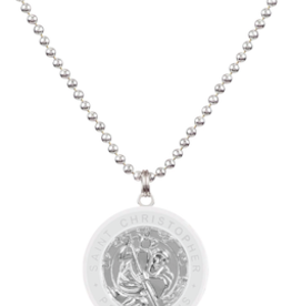 GET BACK SUPPLY CO. St. Christopher Large Necklace Silver/White
