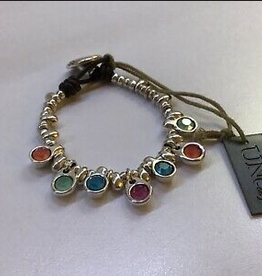 UNO DE 50 TESORA LEATHER BRACELET WITH SILVER AND MULTI CRYSTALS