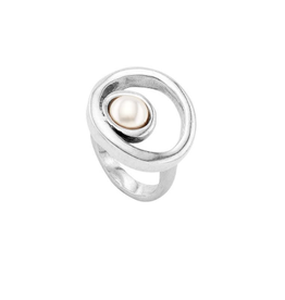 UNO DE 50 Make A Wish Ring In Silver With Pearl Size 7