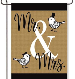 Garden Flag Mr. and Mrs. Birds Burlap