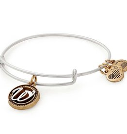ALEX AND ANI Charm Bangle Initial W II in Two Tone Silver/Gold