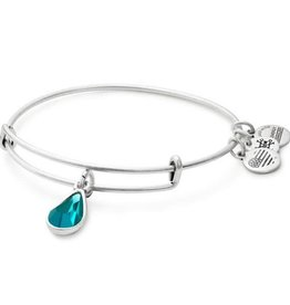 ALEX AND ANI Charm Bangle December Birthstone, Blue Ziron in Silver