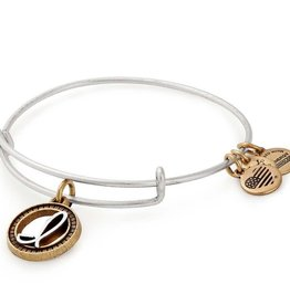 ALEX AND ANI Charm Bangle Initial I II in Two Tone Silver/Gold