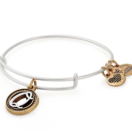 ALEX AND ANI Charm Bangle Initial Q II in Two Tone Silver/Gold