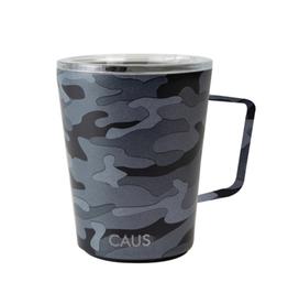 COFFEE TUMBLER WITH HANDLE BLACK CAMO PET