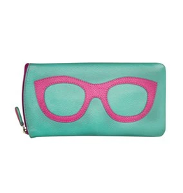 TURQUOISE/PINK EYEGLASS CASE LEATHER