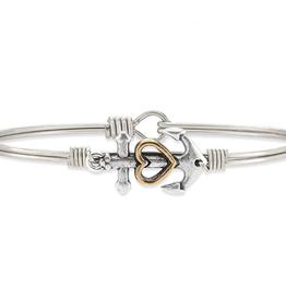 LUCA & DANNI Bangle Bracelet Anchor: Hope anchors the soul -Regular Silver Tone