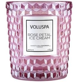 VOLUSPA 6.5oz. Candle In Textured Glass Rose Petal Ice Cream