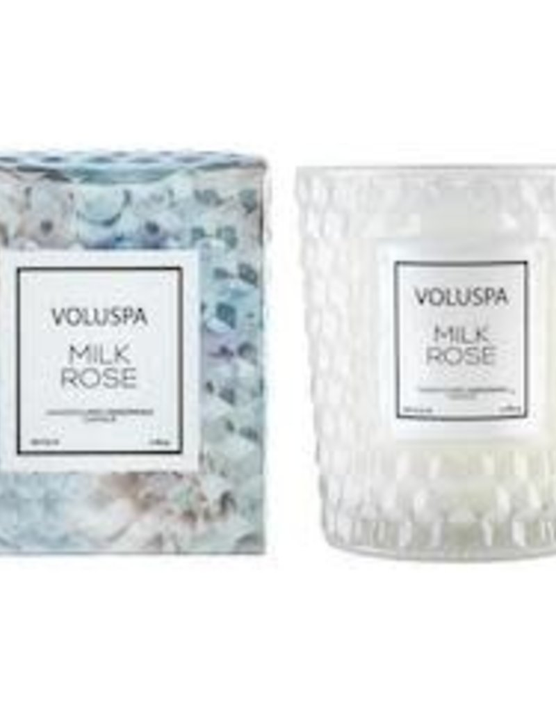 VOLUSPA 6.5oz. Classic Candle In Textured Glass Milk Rose