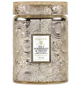 VOLUSPA 18oz.  Large Jar Candle W/Lidgilt Pomander & Hinoki