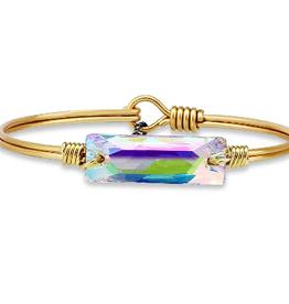 LUCA & DANNI Bangle Bracelet HUDSON In Crystal Aurora Borealis-Regular Brass Tone