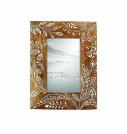 FORESIDE HOME & GARDEN 4X6 FLORAL HENNA PHOTO FRAME