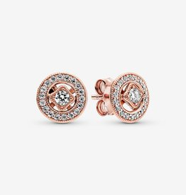 PANDORA Vintage Circle Stud Earrings-Rose Gold
