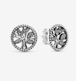PANDORA Sparkling Family Tree Silver Stud Earrings