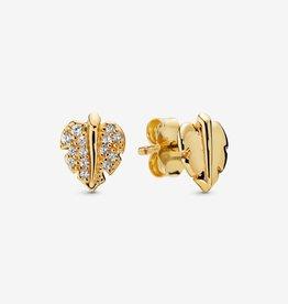 PANDORA Shining & Sparkling Leaf Stud Earrings in Pandora Shine