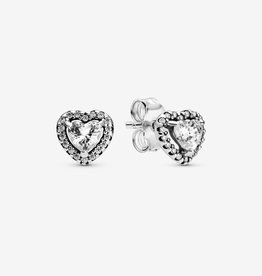 PANDORA Elevated Heart Silver Stud Earrings