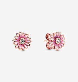 PANDORA Pink Daisy Flower Pandora Rose Stud Earrings