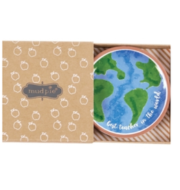 MUDPIE Trinket Dish Terracotta Globe Best Teacher