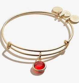 ALEX AND ANI Charm Bangle Lt. Siam July Birthstone Color in Shiny Gold