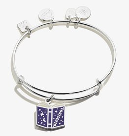 ALEX AND ANI Blessings Book Charm Bangle Shiny Silver Finish