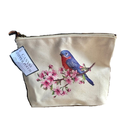 MARY LAKE THOMPSON Bluebird Blossoms Canvas Pouch