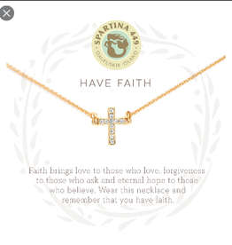 "SPARTINA Sea La Vie Necklace 18"" Have Faith/Cross gold"