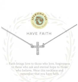 "SPARTINA Sea La Vie Necklace 18"" Have Faith/Cross Silver"