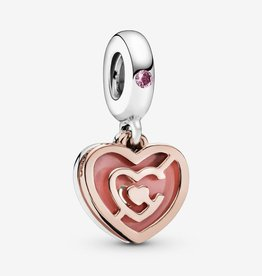PANDORA Pink Heart Labyrinth Dangle Charm
