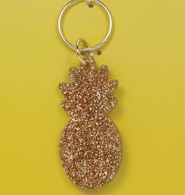 LUCKY FEATHER GOLD GLITTER KEYFOB PINEAPPLE