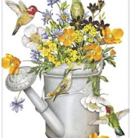 MARY LAKE THOMPSON WATERING CAN W/HUMMINGBIRDS FLOUR SACK DISH TOWEL