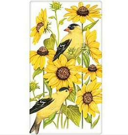 MARY LAKE THOMPSON Flour Sack Dish Towel Sunflower Goldfinch