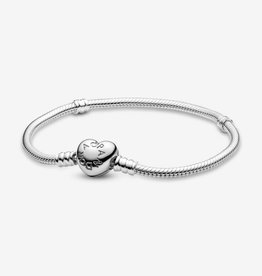 PANDORA Moments Heart Clasp Snake Chain Bracelet Silver: Select Sizes