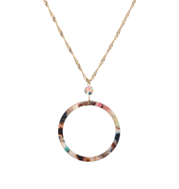 JANE MARIE GOLD CHAIN NECKLACE COLORED RESIN CIRCLE