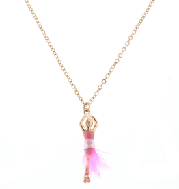 "JANE MARIE 14"" Kids Necklace Ballerina w/ Pink Feather Skirt"