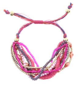 JANE MARIE Multi Strand Pully Bracelet Fucshia Purple Pink