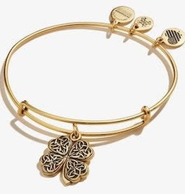 ALEX AND ANI Four Leaf Clover Charm Bangle- Gold or Silver