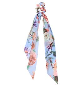 Light Blue Floral Ponytail Scarf