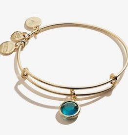 ALEX AND ANI Charm Bangle Emerald May Birthstone in Shiny Gold