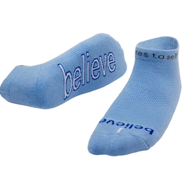 NOTES TO SELF, LLC Low Cut Sock I Believe Blue/White
