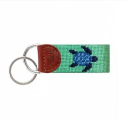 SMATHERS & BRANSON Blue Turtle (Mint) Needlepoint Key Fob