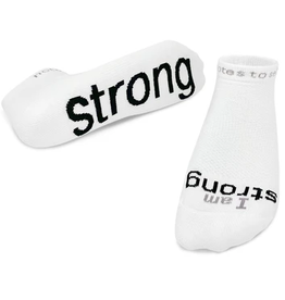 NOTES TO SELF, LLC Low Cut Socks I Am Strong White/Black