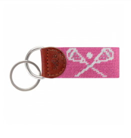 SMATHERS & BRANSON Crossed Lax Sticks (Dark Pink) Needlepoint Key Fob