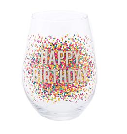 30 oz Stemless Wine Happy Birthday Confetti