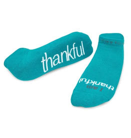 NOTES TO SELF, LLC Low Cut Socks I Am Thankful Teal/White
