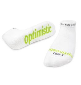 NOTES TO SELF, LLC Low Cut Socks I Am Optimistic-White
