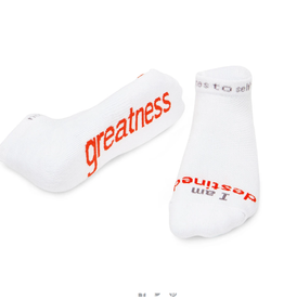 NOTES TO SELF, LLC Low Cut Socks I Am Destined - Greatness - White