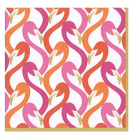 CASPARI FLAMINGO FLOCK COCKTAIL NAPKIN