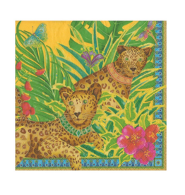 CASPARI LEOPARDS YELLOW COCKTAIL NAPKIN