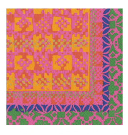 CASPARI FRIDA FUSHIA/ORANGE LUNCHEON NAPKIN